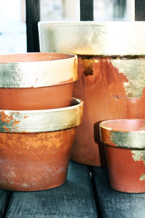 gold leaf terra cotta pots