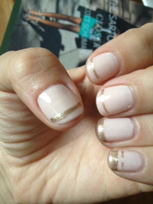 "fun french manicure with gold, reminded me of ""The Great Gatsby"""